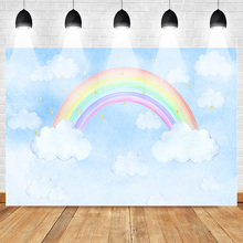 Rainbow Photography Backdrops Photocall Cartoon Birthday Photo Background Cloud Sky Shiny Stars Newborn Party Banner Supplies