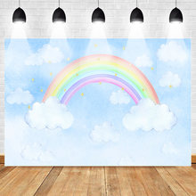 Rainbow Photography Backdrops Photocall Cartoon Birthday Photo Background Cloud Sky Shiny Stars Newborn Party Banner Supplies(China)