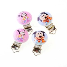 10PCs Baby Pacifier Clips Lovely Cartoon Pattern White Wood Metal Holders Cute Infant Soother Clasps Funny Accessories