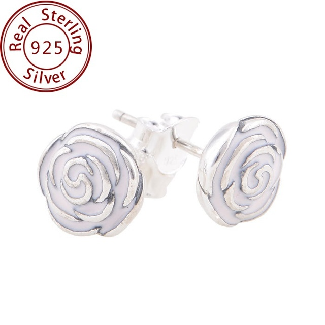 New 2014 fit pandora style 925 sterling silver pink enamel rose stud new 2014 fit pandora style 925 sterling silver pink enamel rose stud earrings for women silver mightylinksfo