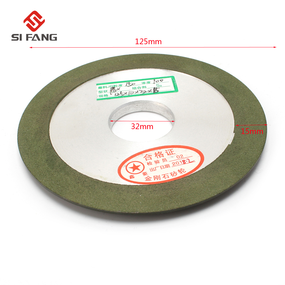 125mm   Green Hypotenuse  Resin  Diamond Grinding Wheel For Metal Diamond Wheel Sharpener 150 Grit 32mm Hole