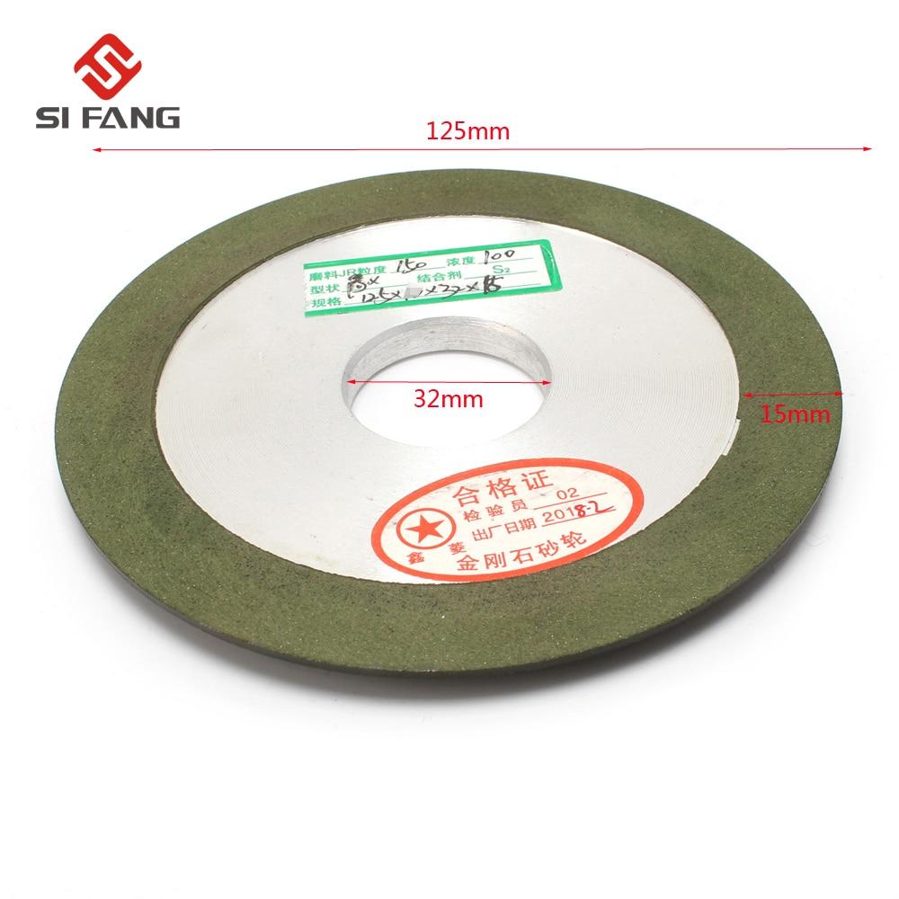 125mm   Green Hypotenuse  Resin  Diamond Grinding Wheel For Metal Diamond Wheel Sharpener 150 Grit 32mm Hole