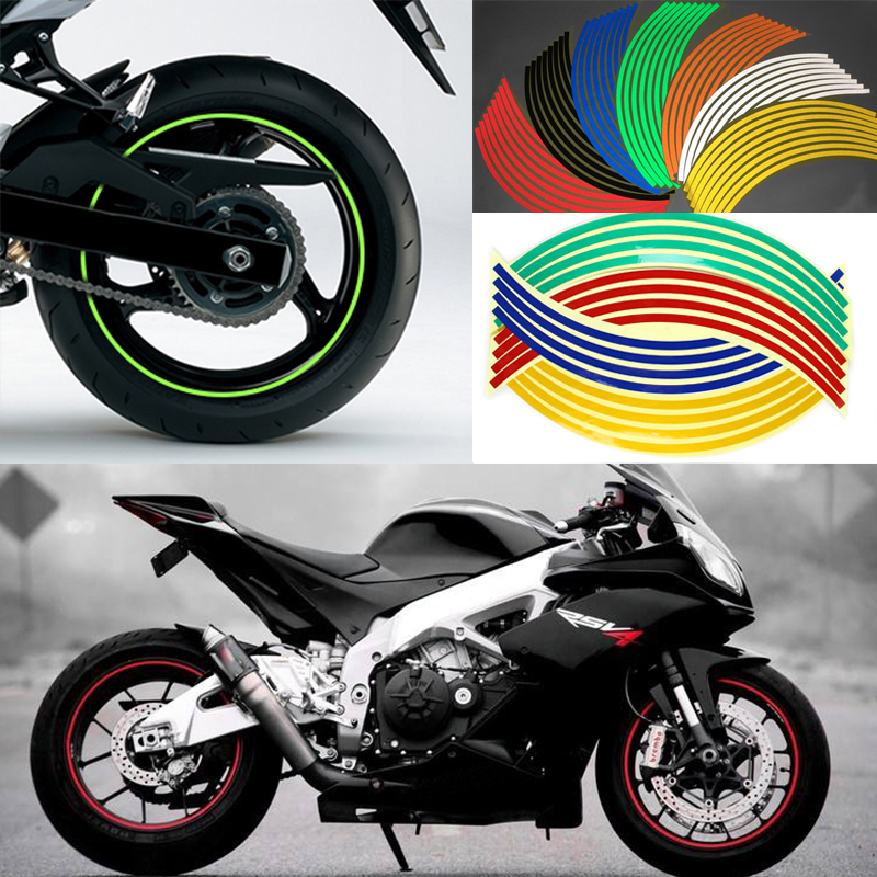 "16 Pcs Strips Wheel Stickers Decals 14/""17/""18/"" Reflective Rim Tape Bike Motor/&car"