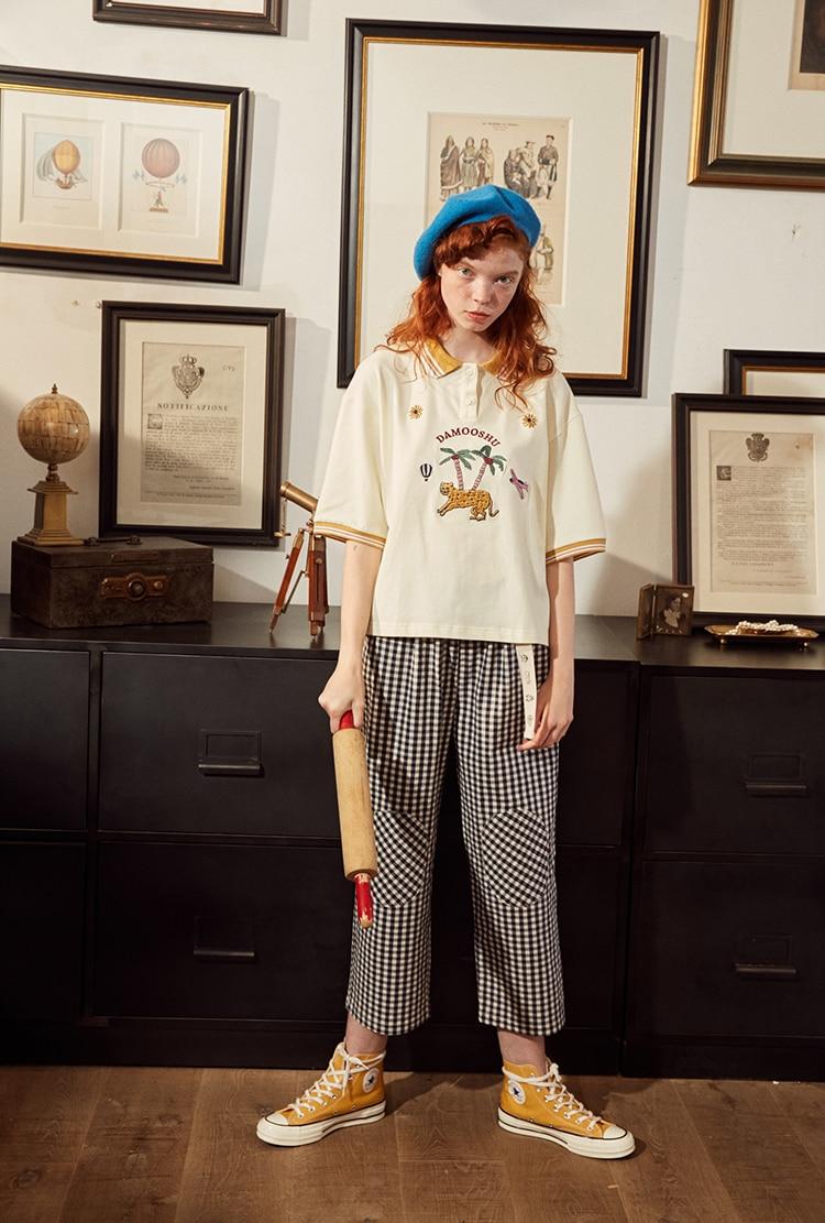 Fashion Design Plaid 2018 Elastic Waist Women Straight Pants Capris Cartoon Print Belt Calf Length Pants Summer Preppy Style 19