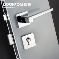 Dooroom Brass Door Lever American Nordic Modern Solid Wood Interior Door Lock Bedroom Split Mechanical Set Handle Black Square