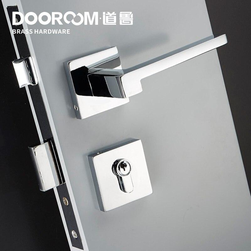 Dooroom laiton levier de porte américain nordique moderne en bois massif intérieur serrure de porte chambre fendu ensemble mécanique poignée noir carré - 2