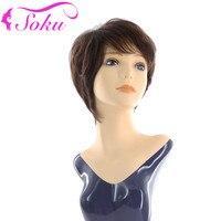 SOKU Short Bob Brazilian Human Hair Wigs Natural Wave Short Wigs With Bangs Full Head Wigs 8 150% Density Non Remy Brown Hair