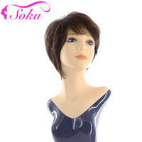 SOKU Short Bob Brazilian Human Hair Wigs Natural Wave Short Wigs With Bangs 8inch 150% Density Non Remy Brown Hair Wigs
