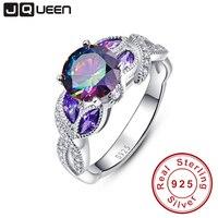 Místico arcoíris Topaz 925 anillos de plata esterlina zafiro anillos de compromiso con claro CZ para mujeres joyería fina Original femenina
