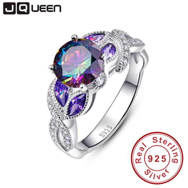 mystical rainbow topaz 925 sterling silver rings sapphire engagement rings with clear cz for women female - Rainbow Wedding Rings