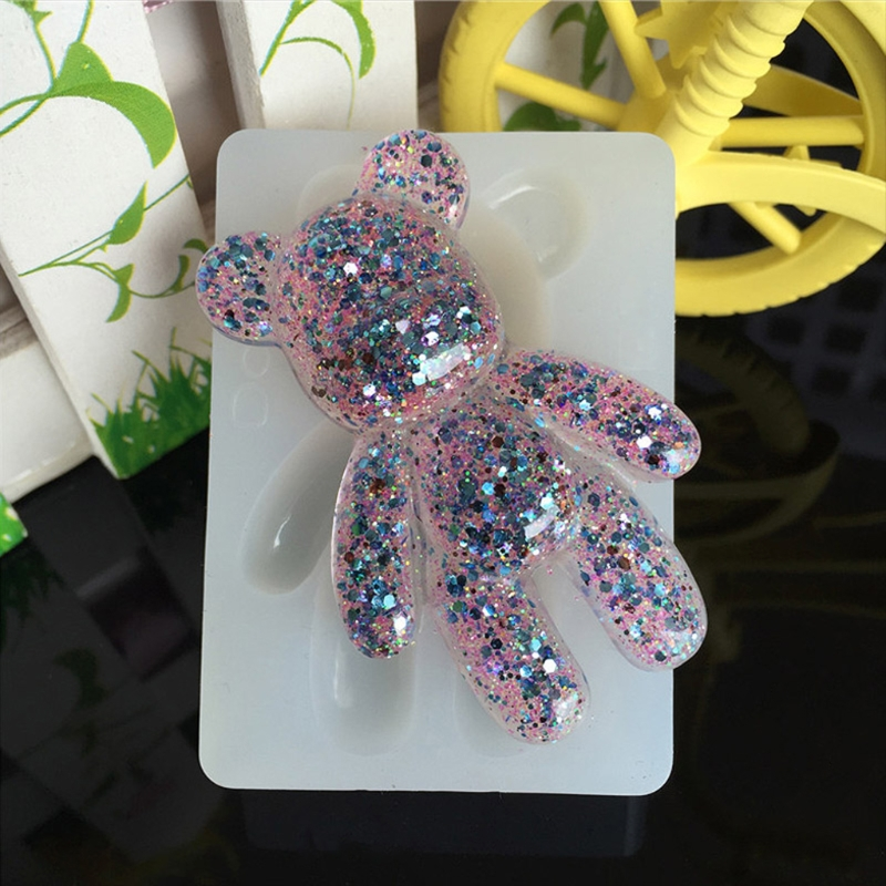 Transparent Silicone Pendant Mould Resin Bear Shape DIY Jewelry Making Tool Fondant Cake
