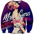 Новые 3D футболка печать с певицей Майли Сайрус Wercring Мяч толстовки женщины/мужчины осень пуловеры harajuku sudaderas