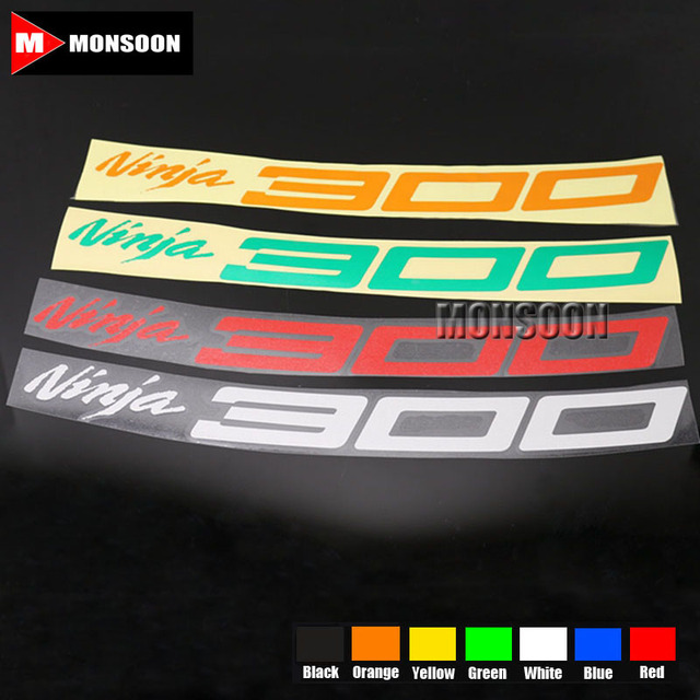 For kawasaki ninja 300 ninja300 motorcycle front rear custom inner rim decals wheel reflective stickers