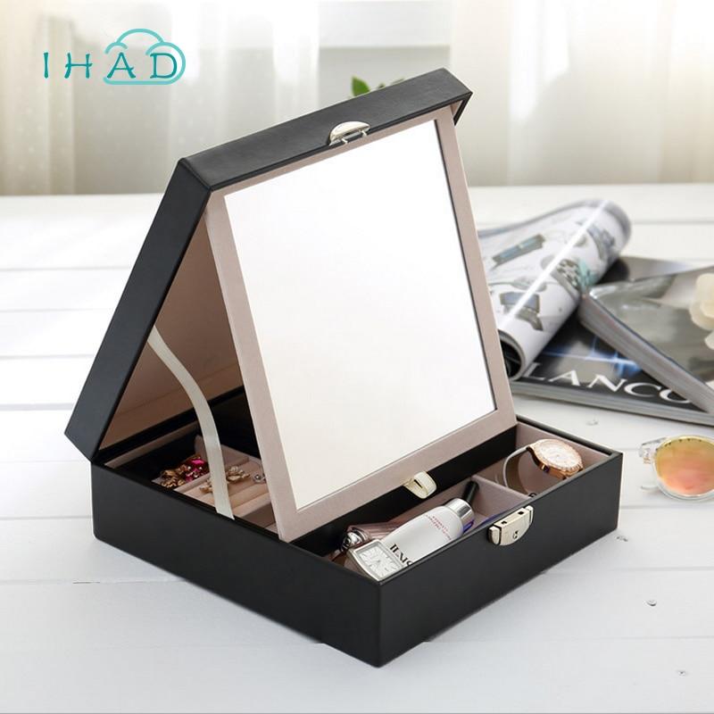 Double layer leather jewelry box with BIG mirror multi Cosmetic jewelry organizer Glasses Storage BOX Casket