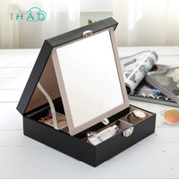 Double layer leather jewelry box with BIG mirror multi Cosmetic&jewelry organizer Glasses Storage BOX Casket Container best gift