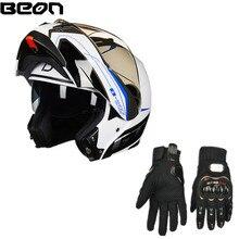 цена на BEON B-700 Motorcycle Helmet Double Lens Full Helmet Motocross Flip-up Helmet Anti-glare Cross Country Helmet ECE + Free Gloves