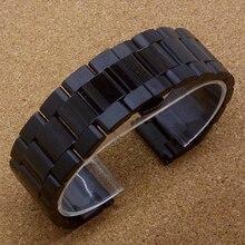 Часы 2015 черный 22 мм из нержавеющей стали цепи металлический браслет ремешок смотреть band умный мужчин и женщин смотреть браслет часы группа