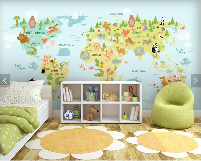 Custom Kids Wallpaper, Cartoon World Map Mural For