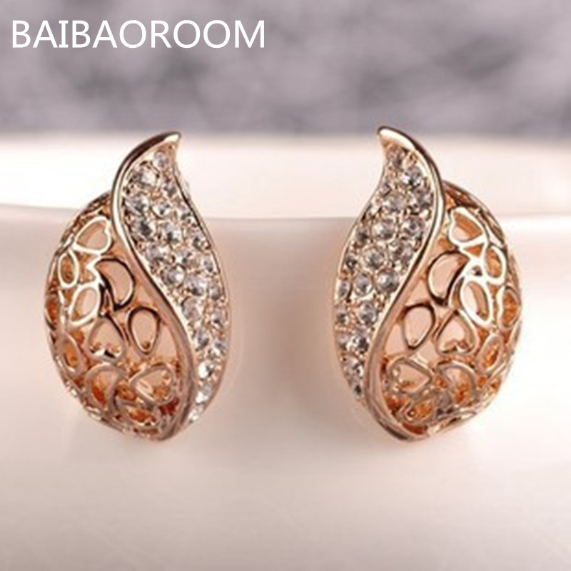 Fashion OL style core hollow out lover acacia leaves earrings