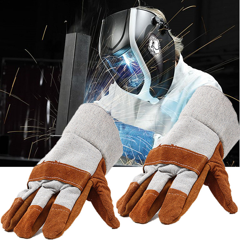 Durable Welding Insulated Gloves Work Soft Cowhide Leather Plus Gloves Welders For Protecting Hand Anti-cut Safety Gloves