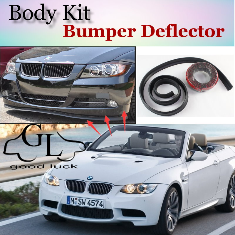 For BMW 3 M3 E30 E36 E46 E90 E91 E92 E93 F30 F31 F34 Bumper Lip Spoiler Deflector For Car Tuning / Front Skirt Body Kit + Strip