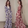 2016 V Profundo Azul Bordado de Gasa de Manga Larga de Las Mujeres El Amor y Limones Vestido Largo