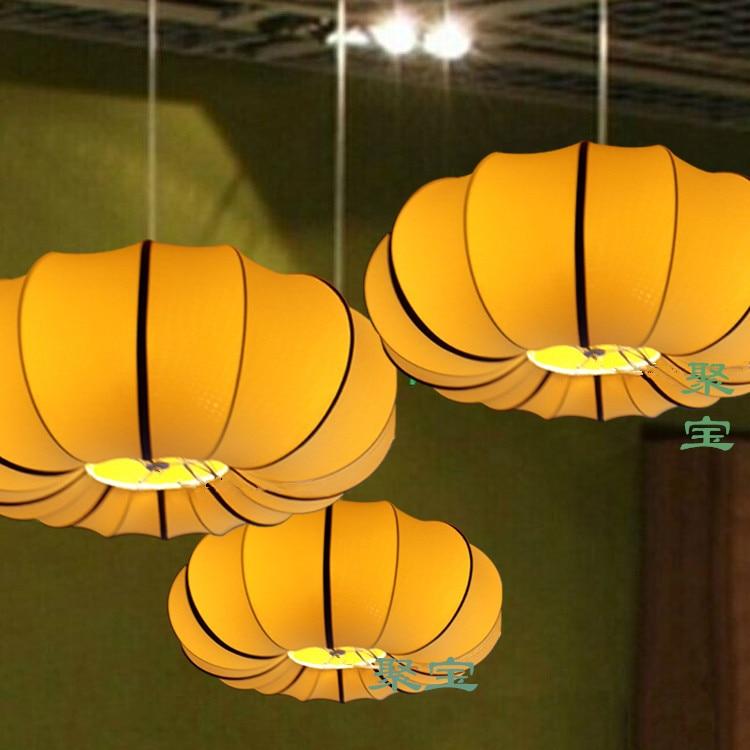 new Chinese cloth restaurant aisle study classical lanterns pumpkin cloth pendant lamp creative restaurant dining room ZS163
