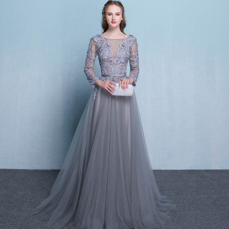 Beauty Emily   Evening     Dress   2019 Long Lace Up Beads Grey A Line Formal Party Prom   Dress   O-neck Floor-length