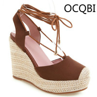 Womens Suede Elevated Wedge Sandals Closed Toe Summer Casual Shoes Party Shoes Beige Black Brown Platform Red Sandals