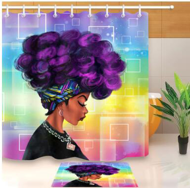 New High Quality Different Custom Waterproof Bathroom African Woman Shower Curtain Polyester Fabric Bathroom Curtain