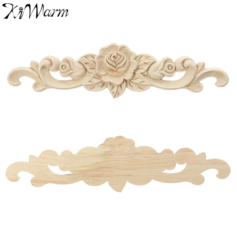 Furniture Accessories Clever Carving Wood Decoration Wood Furniture Wooden Applique Decal Corner Applique Frame For Home Decoration