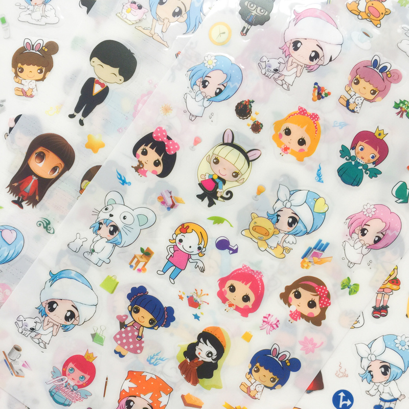 AD23 6 Sheets /Pack Princess Girl Adhesive Decorative Stickers DIY Album Decor Student Stationery Sticker Set Stick Label