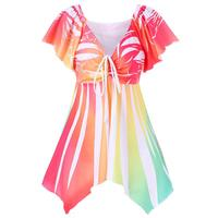 Summer Butterfly Blouses Shirts Women Empire Waisted Causal Shirts Irregular Tops Femme Tie Up Women Clothes