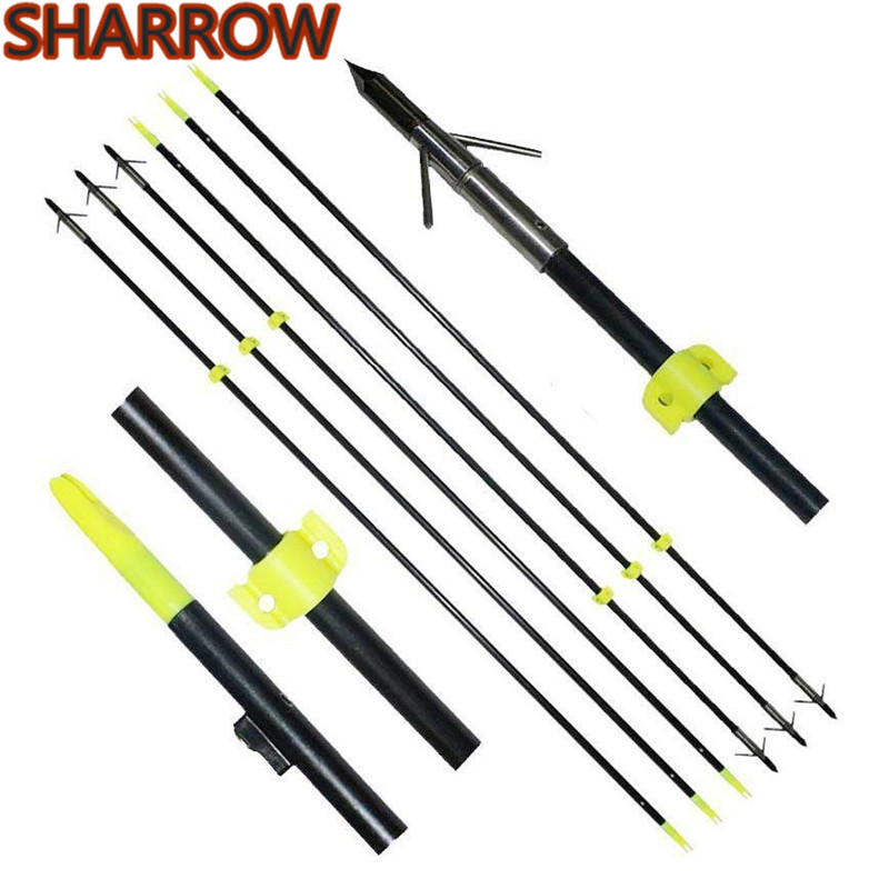 New Archery Bowfishing Arrows with Arrowheads Carbon Hunting Fishing Arrows 6mm
