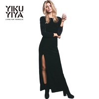YIKUYIYA 2016 Autumn New Fashion Women Dress Long Sleeve High Waist Solid Black Velvet Asymmetrical Sexy