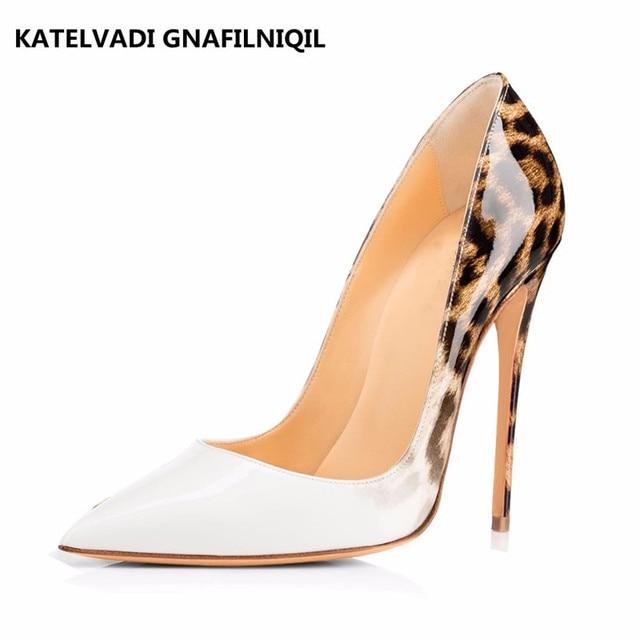 bb87318688c Marca Mujeres Bombas Leopard Zapatos Blancos zapatos de Noche Mujer de Charol  Sexy Mujeres del Diseñador
