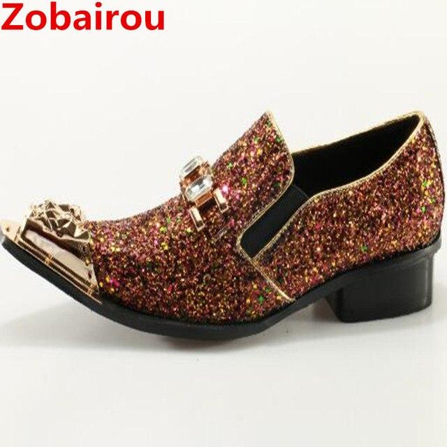 Zobairou Uomini scarpe di marca di lusso glitter oro abito da sposa scarpe  italiane uomo in db87c2e5b84