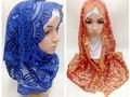 Nova chegada paillette das mulheres árabes muçulmanos xales e wraps Hijabs islâmicos