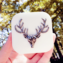 Lovely Women Handmade Contact Lens Box Travel Kit With Mirror Square Black/White Christmas Deer Case Cute Animals