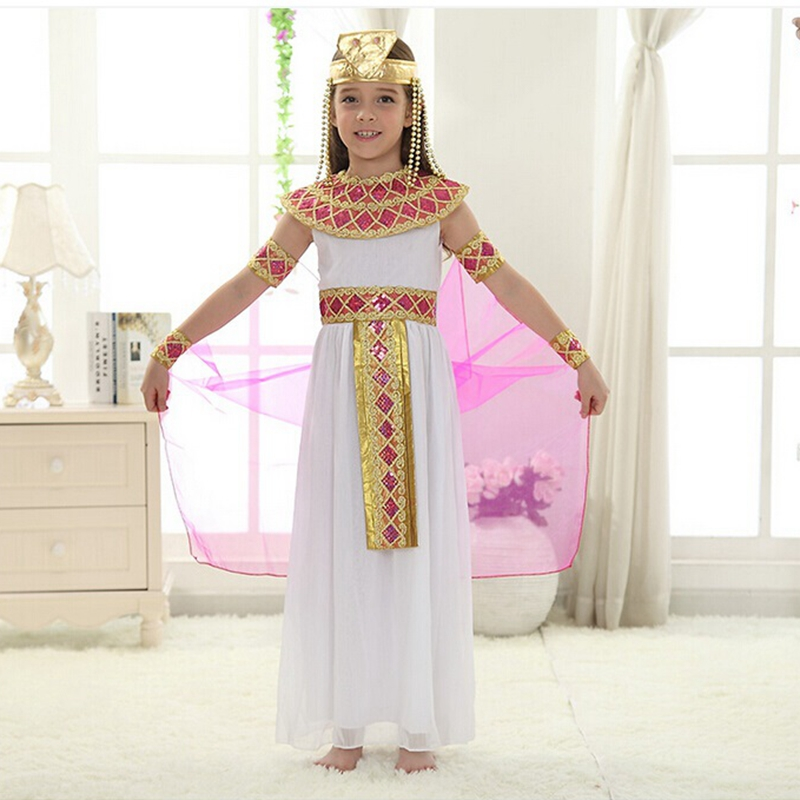 Cute Queen Dress in Cosplay Carnival Party Beautiful Kids Costume Children Cosplay Halloween Party Egypt Princess Dress halloween queen cosplay dress