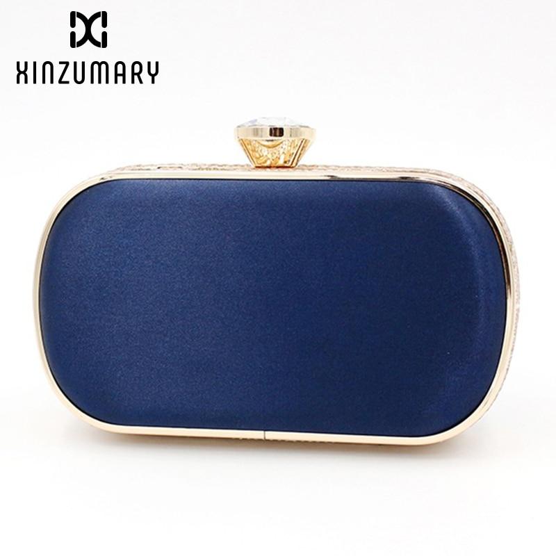 Simple Design Blue Women Casual Evening Bags Box Clutch Purse Party Dinner Cocktail Handbags Chain Shoulder Bags bolsa feminina