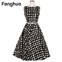 Fenghua Casual Floral Print Women Dress Summer 2018 Elegant Sleeveless Dress Vintage Audrey Ball Gown Party