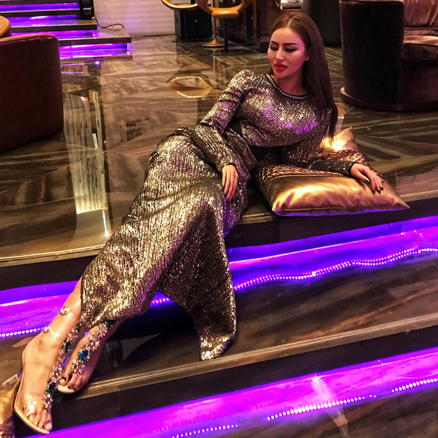 c331a648869 Ashimmer Sequin Hollow Out Patchwork Metal Chain Embellished Round Neck  Long Sleeve Back Slit Maxi Dress