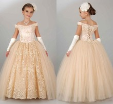Pageant Dresses For Girls Teens Off Shoulder Appliques Lace Flower Girl Dresses Champagne Children Lace Up Birthday Dress