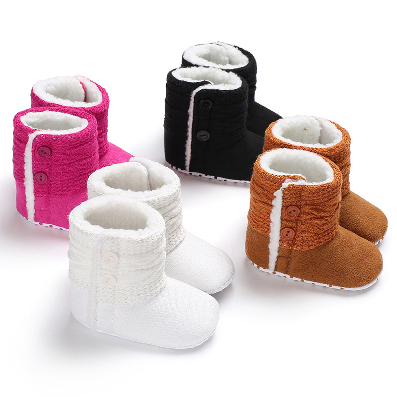 Winter 0-1 Years Old Men And Women Baby Warm Plus Velvet Non-slip Soft Bottom Shoes Baby Toddler Shoes