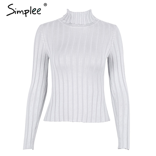 Simplee Turtleneck knitting sweater women Casual cotton knitted winter sweater pullover female 2017 Autumn winter jumper