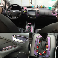 Car Styling 3D/5D Carbon Fiber Car Interior Center Console Color Change Molding Sticker Decals For Kia K3 20113 2018