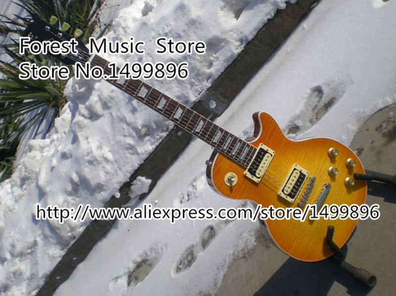 Top Selling Vintage Yellow Tiger Flame LP Standard Electric Guitar China 1960 R0 Guitar Lefty Available the little mermaid tail princess ariel dress cosplay costume kids for girl fancy green dress halloween christmas cosplay costume