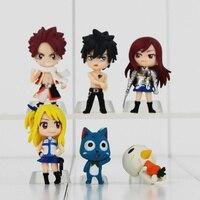 Fairy Tail Anime Cartoon Figure Model And Retail 6 Pcs Set Natsu Happy Lucy Gray Elza
