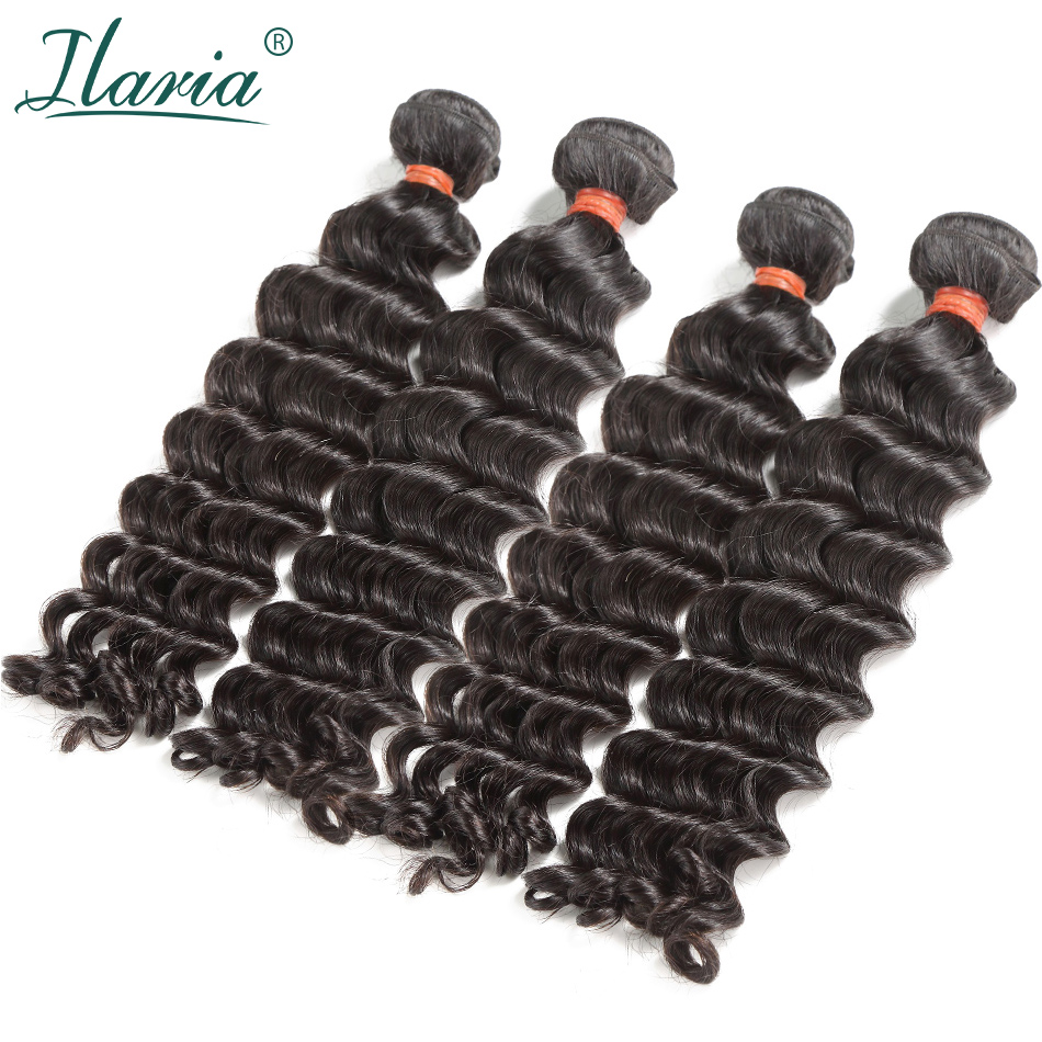 "LUXURY ILARIA HAIR Brazilian Virgin Hair Bundles Natural Wave Thick & Not Dry 10""-28"" 100% Mink Raw Human Hair Weave Full Bundle"